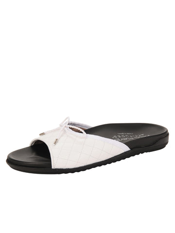 Womens White Win Quilted Sandal