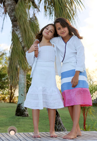 Girls Floral Patchwork Applique On Pink, Blue and White Color Blocked skirt.