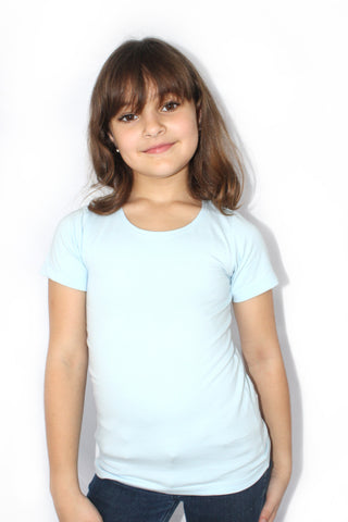 Little girl wearing short sleeve organic cotton slim slight stretch t-shirt in Light Blue