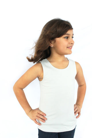 little girl wearing a baby blue tank top . she is posing with her hand on her hips, she is very pretty