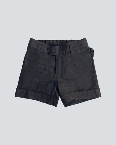 girls dark grey organic linen slim fit shorts with roll hem detail and covered front button