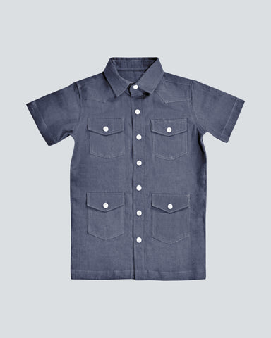 Boys dark blue guayabera short sleeve organic linen shirt with 4 pockets with buttons on the front