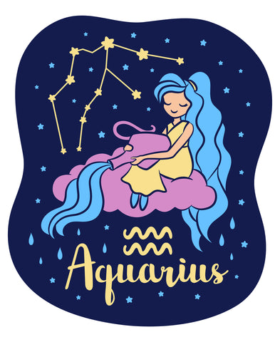 Celebrate your Aquarius Zodiac personality with our kids fashion prints featuring your sign, constellation, and your identifying Aquarius water bearer Air Sign mascot. Printed on our classic soft organic  cotton stretch signature knit and cut.