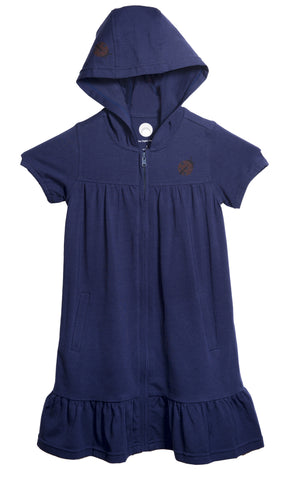 Navy Blue zip front cotton dress with short sleeves a hoody and a little lady bug print on front