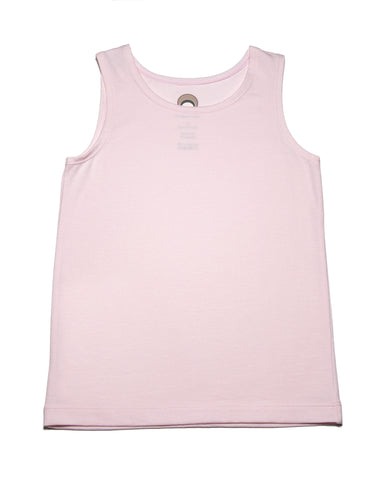 Photo of a light pink sleeveless tee or tank top in organic soft smooth cotton