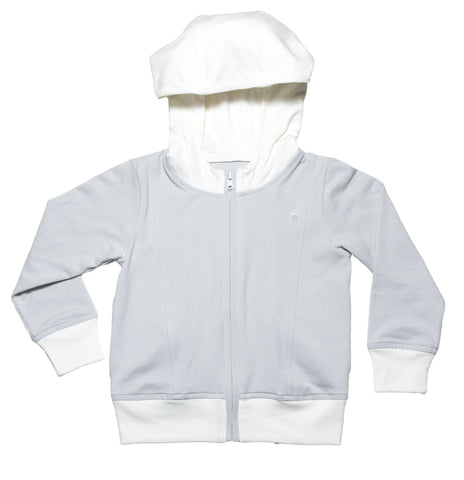 kids light grey and white colorblock zip front hoody with front kangaroo pockets