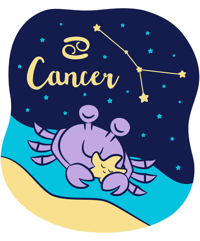 Celebrate your Cancer Zodiac personality with our prints featuring your sign, constellation, and your identifying cancer crab water sign mascot. Printed on our classic soft organic  cotton stretch signature knit and cut.