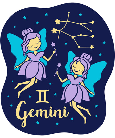 Celebrate your Gemini Zodiac personality with our kids fashion prints featuring your sign, constellation, and your identifying Gemini Twins Air Sign mascot. Printed on our classic soft organic  cotton stretch signature knit and cut.  Our prints get your mystical knowledge of your child's individual personality out front and center in our Colored Horoscope, Zodiac Astrology screen printed on our Light Grey Tank Top