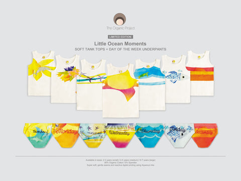 Collection of Little Ocean Moments 7 day of the week Tank and underpants sets made exclusively for The Organic Project
