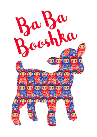 "Girls Graphic T-Shirt for ages 2 to 6 years old.  Printed on our classic soft organic white cotton stretch signature knit and cut.  Babushka Dolls and a Little Lamb screen print make this fun ""play on words"" cute tee.   Red White and Blue are the dominant colors in this design."
