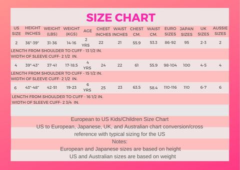 The Organic Project Children's Clothing Size Chart