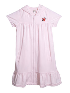Pink zip front cotton dress with short sleeves a hoody and a little lady bug print on front