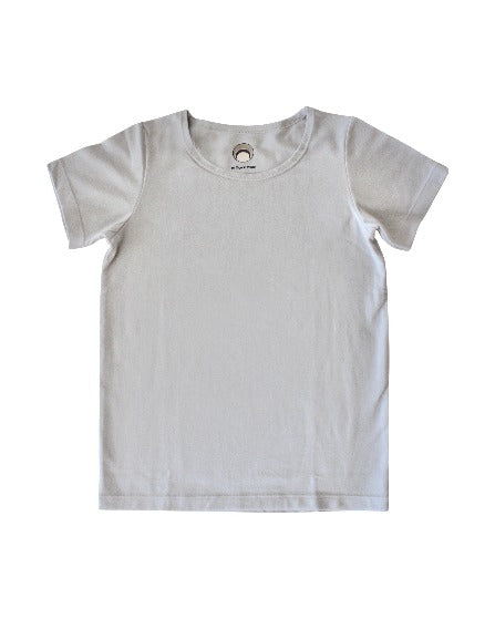 girls / kids light grey organic cotton stretch basic t-shirt wtih round neck and soft flat seams.  the perfect kids tshirt from The Organic Project.  Shop Now On Sale