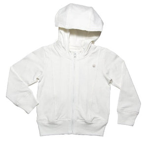 Girls and Boys Soft Organic Cotton Essential Cloud White Zip Up Hoody Jacket with pockets