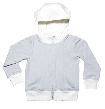Boys and Girls Soft Essential Cloud White and Glacier Grey Color Block  Zip Up Hoody Jacket with pockets