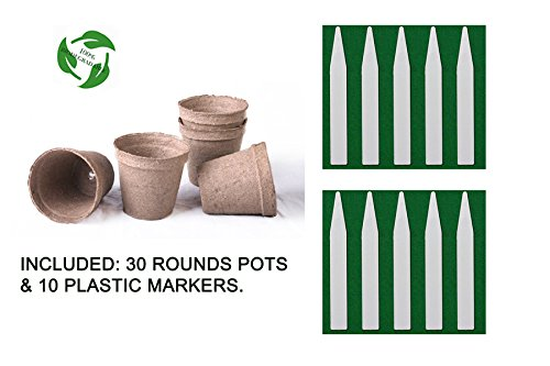 Seed Starter Round Pots Kit / 100% Biodegradable and Organic + 10 Plastic Plant Markers - Lovely Seeds