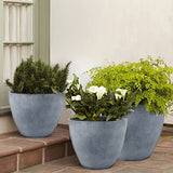 "Flower Pot Large 14.2"" Unbreakable Resin Plant Containers with Drain Hole - Lovely Seeds"