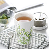 Double Wall Insulated Ceramic Brewing Cup with Infuser Basket and Lid - Lovely Seeds