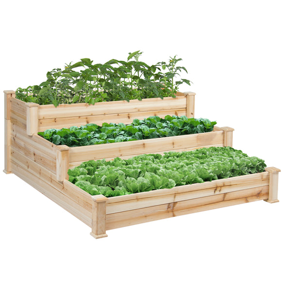 3 Tier Wooden Raised Elevated Vegetable Garden Bed Planter Kit for Outdoor Gardening - Lovely Seeds