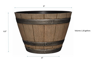 "Whiskey Barrel Planter, Distressed Oak, 3 sizes - 9"", 15"", 20.5"" - Lovely Seeds"