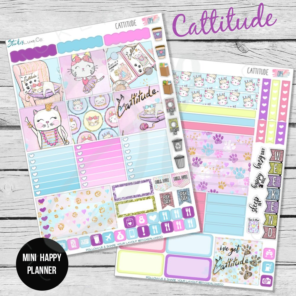 Planner Sticker Kit- Cattitude Mini Happy Planner, Personal Planner