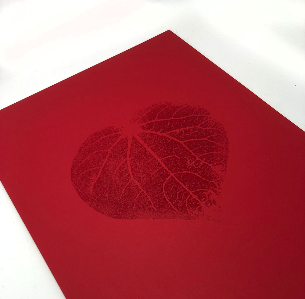 Kawakawa Heart - red on red