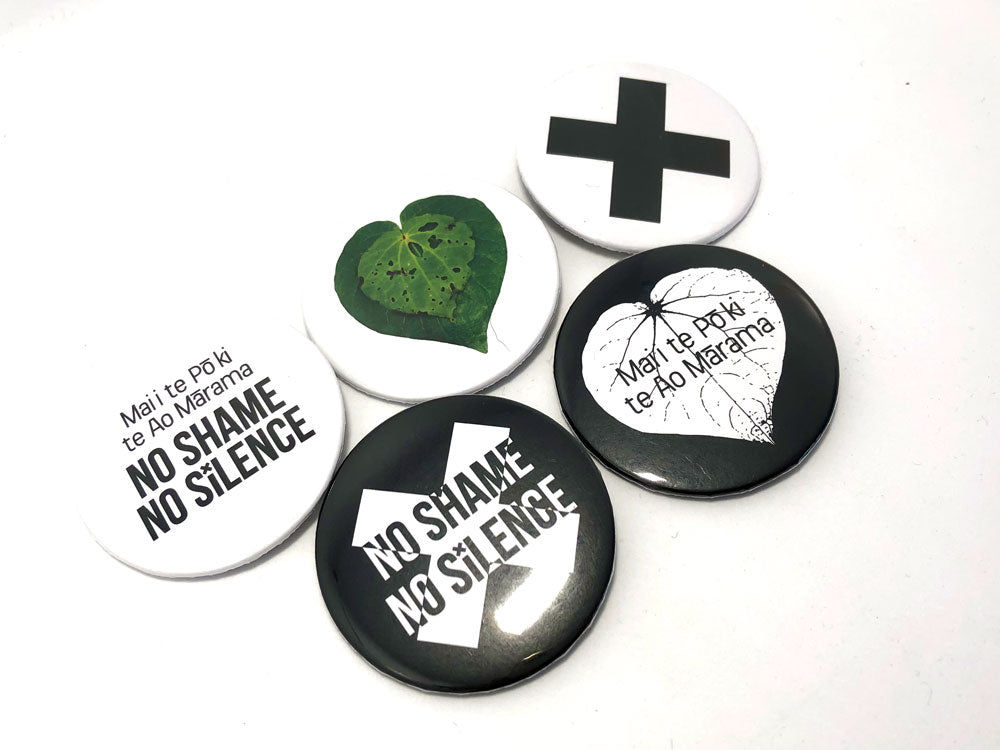 No Shame No Silence badge set