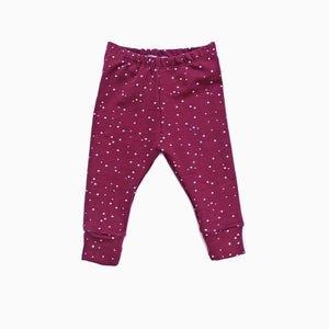 LEGGINGS SPOTS WINE 3-6, 6-9 Y 12-18 MESES