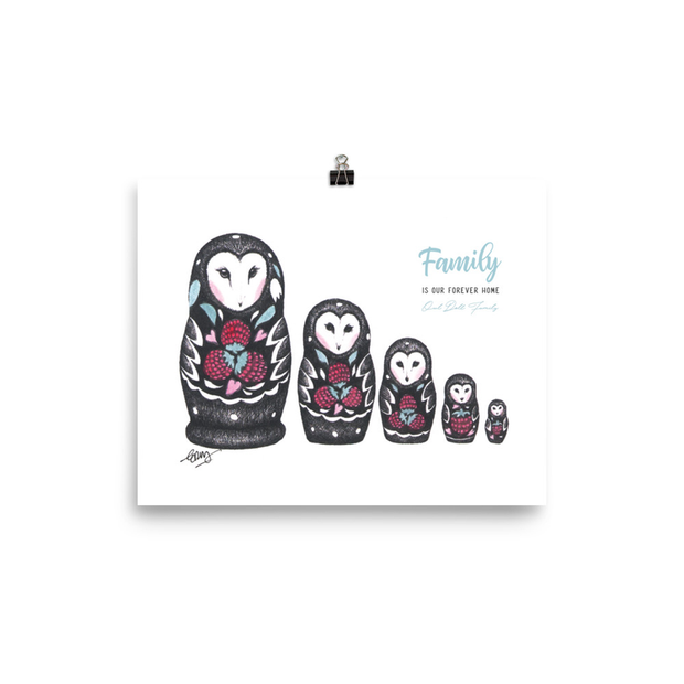 Owl Doll Family Art Print