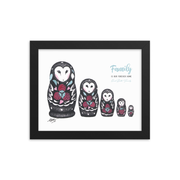 Owl Doll Family Framed Art Print