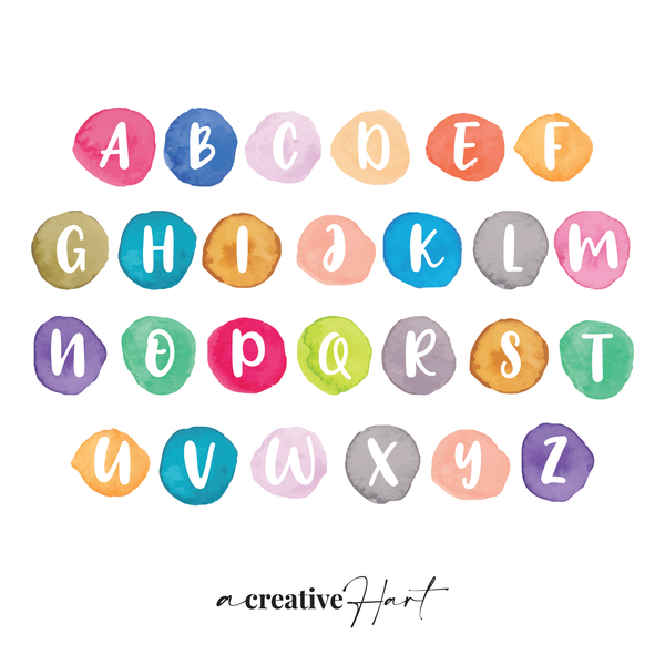 Watercolour ABC Alphabet Set - Fabric Wall Decals - A Creative Hart