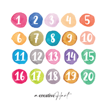 Watercolour Numbers 1 -20 Set - Fabric Wall Decals - A Creative Hart