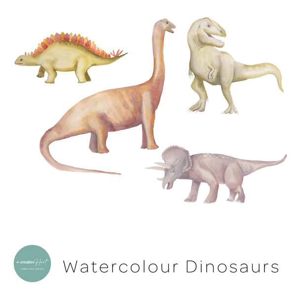 Dinosaur Fabric Wall Decals - Watercolour - A Creative Hart