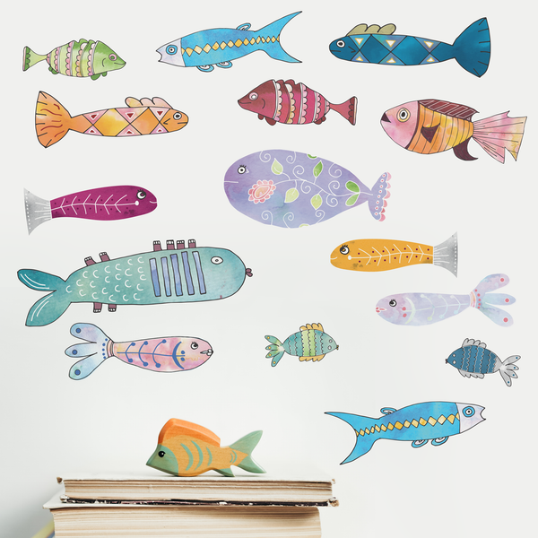 Folk Fish Decals ( Set of 16 ) - A Creative Hart