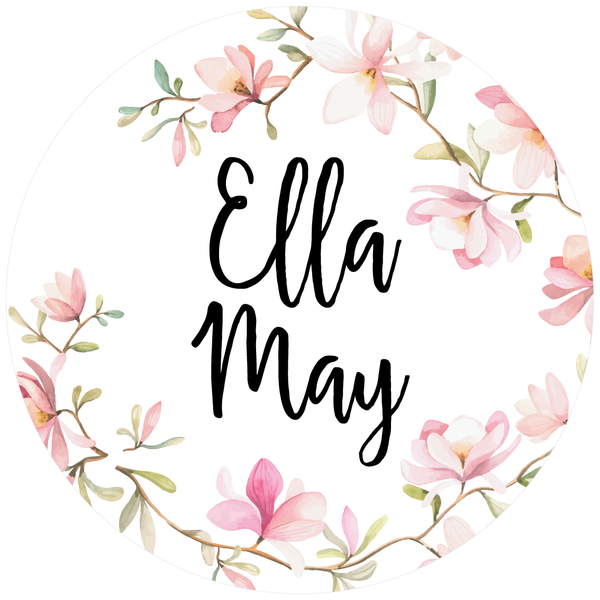 Floral 'Name' Circle Fabric Wall Decal - A Creative Hart