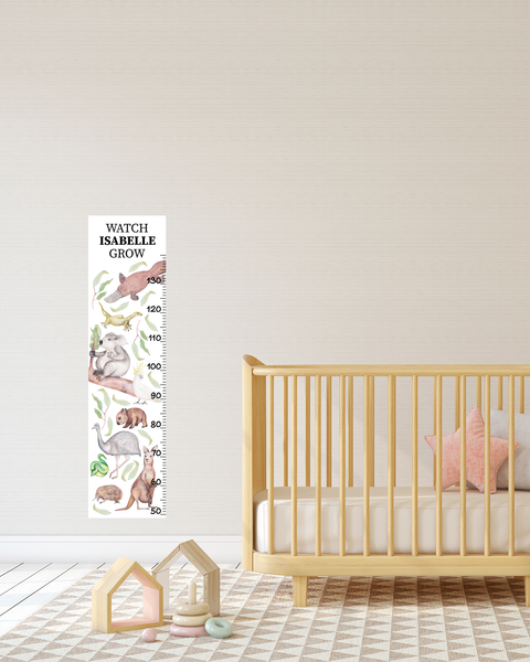 Australian Native Animals Height Chart Fabric Wall Decal - A Creative Hart