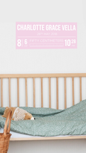 Baby Birth Announcement Details Sign Fabric Wall Decal - A Creative Hart