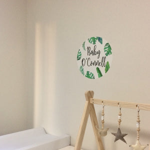 Leafy Green 'Name' Circle Fabric Wall Decal - A Creative Hart