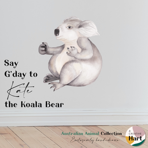 Koala, Cockatoo, Wombat and Echidna Australian Animal Fabric Wall Decals | A Creative Hart - A Creative Hart