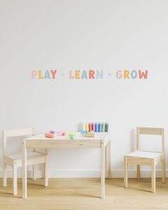 Play, Learn, Grow Fabric Wall Decal Quote | A Creative Hart - A Creative Hart
