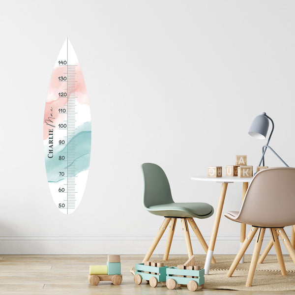 Surfboard Height Chart Fabric Wall Decal - A Creative Hart