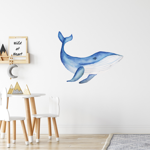 Blue Whale Fabric Wall Decal - A Creative Hart