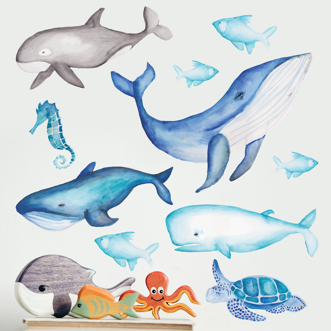 Under the Sea Whale, Seahorse, Fish and Turtle Set - A Creative Hart