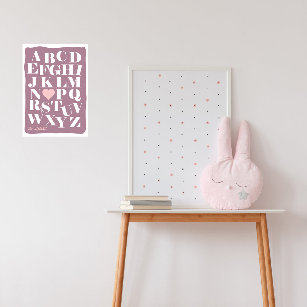 Blush Pink Girls Room Alphabet Fabric Wall Decal - A Creative Hart