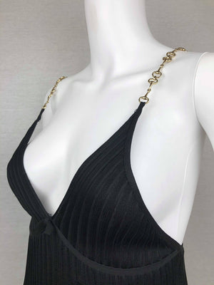 Gucci gold horsebit straps dress