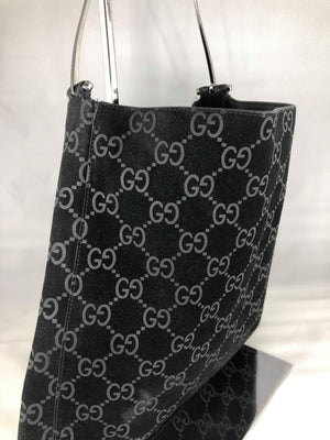 Gucci black suede monogram bag