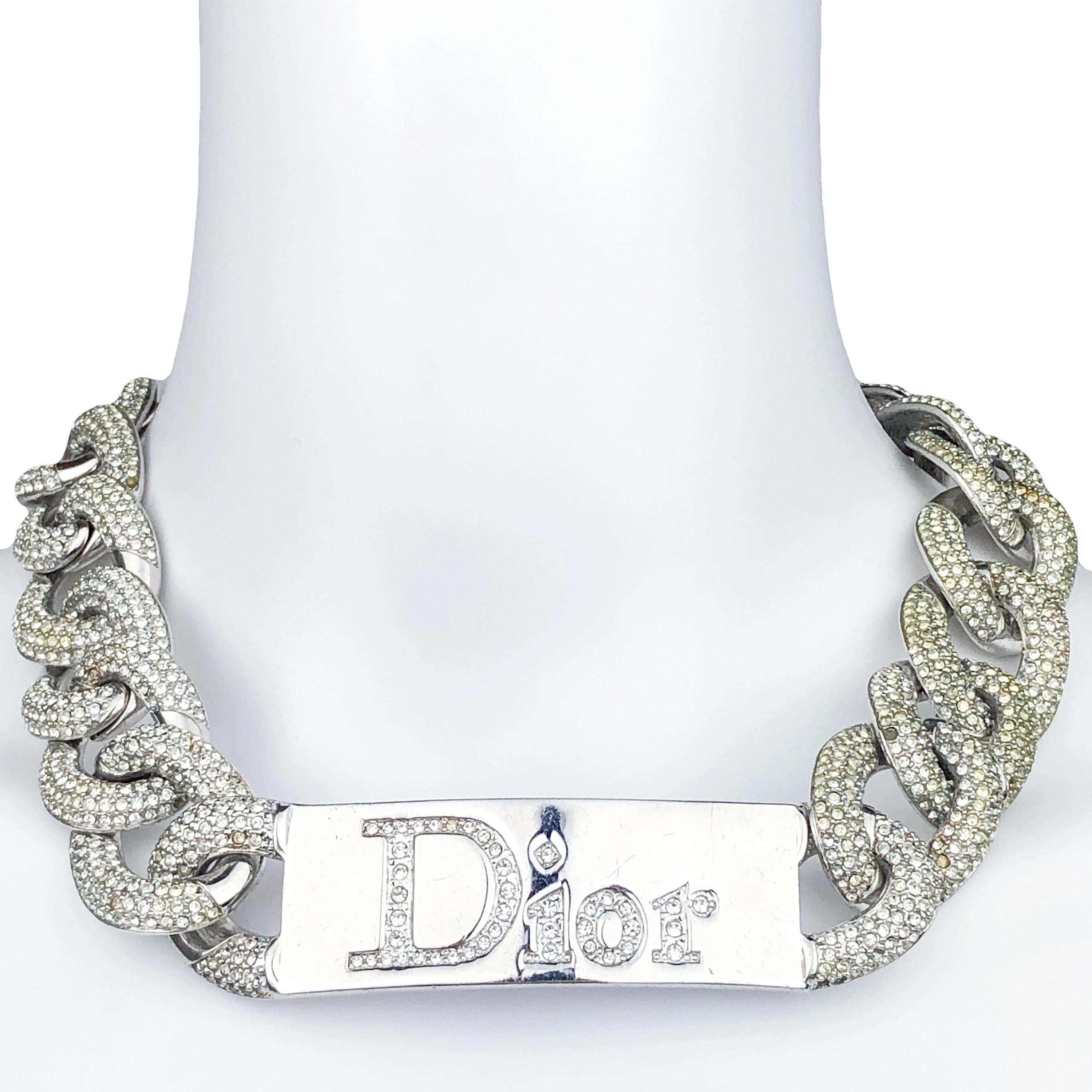 Dior Fall 2000 pave ID necklace
