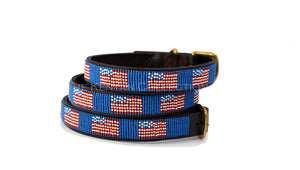 American Flag Beaded Dog Collar