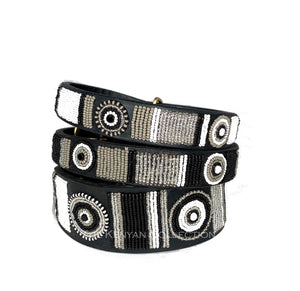 """Shades of Grey"" Beaded Dog Collar"