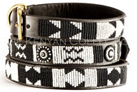 "Load image into Gallery viewer, ""Ebony & Ivory"" Beaded Dog Collar"